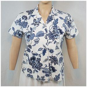 Susan Graver Tops - SUSAN GRAVER, Denim Floral Top, size XLarge XL X-L